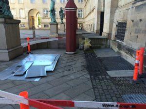 Fjernelse af 2 stk. ventilationstårne nedenfor statsministerkontoret.